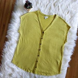 J. Jill Love Linen Size S Chartreuse Button Down
